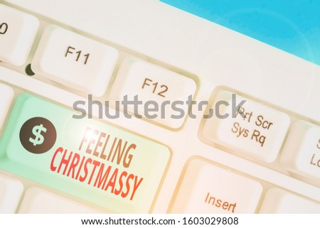 Word writing text Feeling Christmassy. Business concept for Resembling or having feelings of Christmas festivity. #1603029808