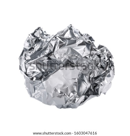 Crumpled ball of aluminum foil isolated on white #1603047616