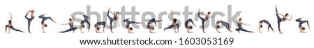 Collage of professional young acrobat exercising on white background. Banner design #1603053169