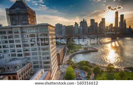 Brooklyn riverside, aerial view from Manhattan Bridge - New York City.