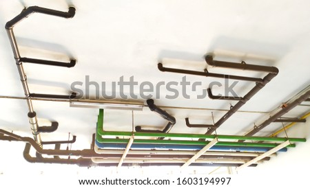 Waste Pipe Drainage System inside building,  piping on the ceiling   #1603194997
