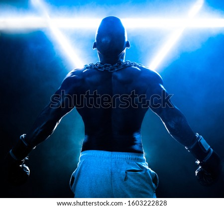 Fitness Male boxing special effects. smoke effects movie like and with a heavy mood.  #1603222828