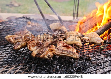 A traditional South African chicken braai.