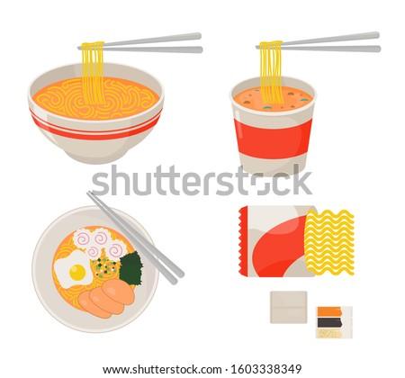 instant noodle collection set ramen, cup noodle and a bowl of noodle in flat design #1603338349
