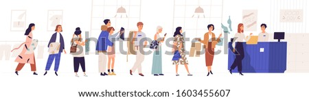 Shopping in store flat vector illustration. Sale, discount, special offer concept. Seller and people standing in queue cartoon characters. Male and female customers isolated on white background. #1603455607