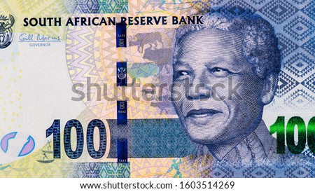 Nelson Rolihlahla Mandela., Portrait from South Africa 100 Rand 2012 Banknotes. An Old paper banknote, vintage retro. Famous ancient Banknotes. Collection. #1603514269