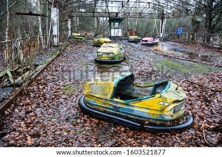 Abandoned amusement park in the city center of Prypiat in Chornobyl exclusion zone. Radioactive zone in Pripyat city - abandoned ghost town. Chernobyl history of catastrophe. Ukraine, December 2019 #1603521877
