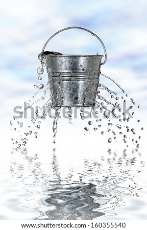 water is coming out of a bucket with holes #160355540
