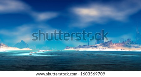 Fantasy alien planet. Mountain and lake. 3D illustration #1603569709