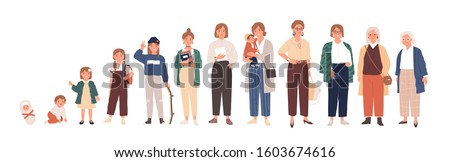 Woman life cycle flat vector illustration. Female person aging stages, lady growth phases set. Girl growing up from newborn baby to senior adult cartoon character. Human lifespan development. #1603674616