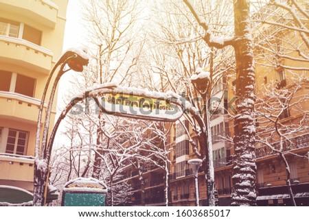 Paris metropolitan metro station covered with snow #1603685017