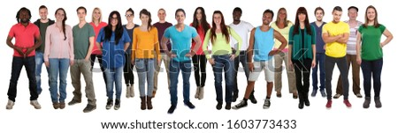 Multicultural group of young people smiling happy multi ethnic full body standing isolated on a white background #1603773433