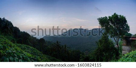 Nature Landscape Kerala Vazhamala beautiful sunset view, best place to visit in Kannur, Travel and tourism concept image #1603824115