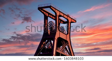 Old winding tower in the Ruhr area Royalty-Free Stock Photo #1603848103
