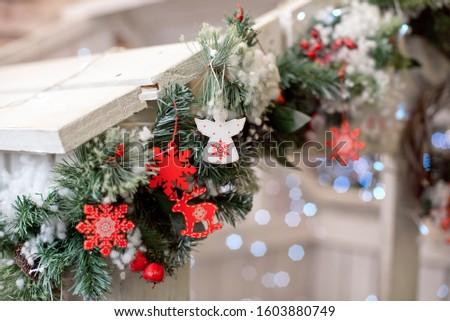 Christmas decoration.Christmas decoration background, Christmas tree and holidays ornament #1603880749