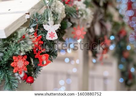 Christmas decoration.Christmas decoration background, Christmas tree and holidays ornament #1603880752