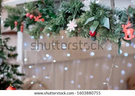 Christmas decoration.Christmas decoration background, Christmas tree and holidays ornament #1603880755