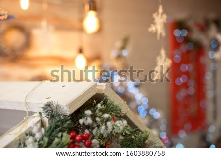 Christmas decoration.Christmas decoration background, Christmas tree and holidays ornament #1603880758