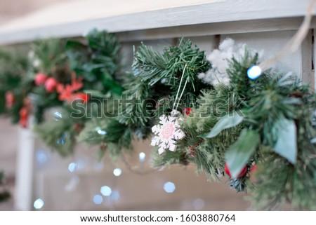 Christmas decoration.Christmas decoration background, Christmas tree and holidays ornament #1603880764