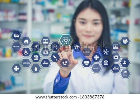Health care medicine automation brain gear web development ideas iot concept. asia woman doctor brainstorm idea cogwheel medical modernization integration emr technology touching icon