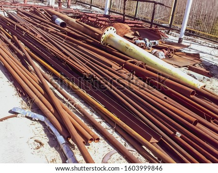 Warehouse of pipes, profile and angle. Metal raw materials #1603999846