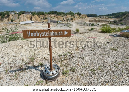 """Sign to a """"Hobbysteinbruch"""", German for """"Hobby Quarry"""", quarry area of Untere Haardt, Altmühltal, Solnhofen, Middle Franconia, Bavaria, Germany #1604037571"""
