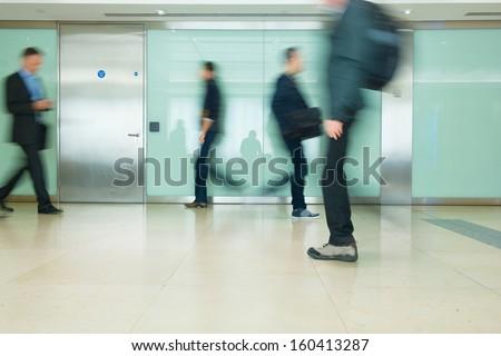 Blur Movement Business people walking in Rush Hour, London, UK #160413287