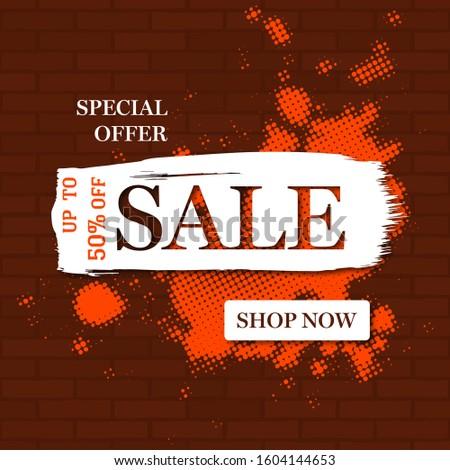 Sale banner template design. Big sale special offer. End of season special offer banner. Flash discount template promotion design. Vector illustration. Business label percent vector illustration #1604144653