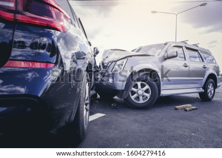 Car crash dangerous accident on the road. Royalty-Free Stock Photo #1604279416