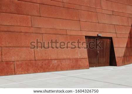 Segment of the façade of the teaching Center part of the Campus of WU Vienna. Made of Corten weathering steel. #1604326750