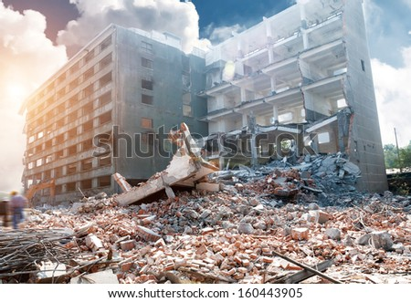 Ruined buildings Royalty-Free Stock Photo #160443905