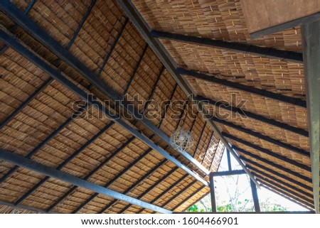 Structure of bamboo huts. Bamboo hut. Bamboo huts for living. The part of the roof is made of bamboo. #1604466901