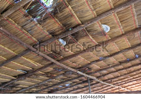 Structure of bamboo huts. Bamboo hut. Bamboo huts for living. The part of the roof is made of bamboo. #1604466904