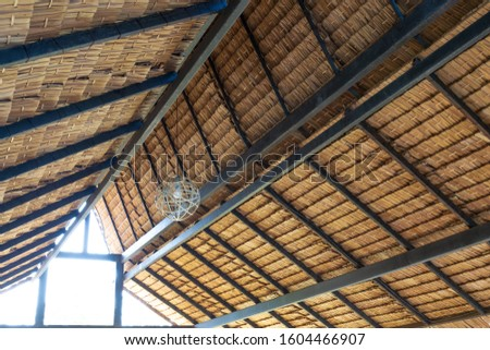 Structure of bamboo huts. Bamboo hut. Bamboo huts for living. The part of the roof is made of bamboo. #1604466907