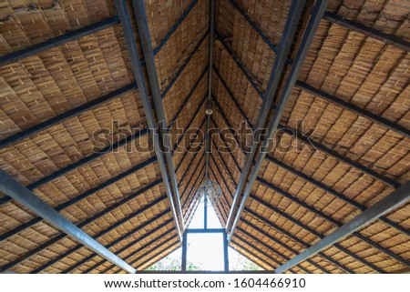 Structure of bamboo huts. Bamboo hut. Bamboo huts for living. The part of the roof is made of bamboo. #1604466910