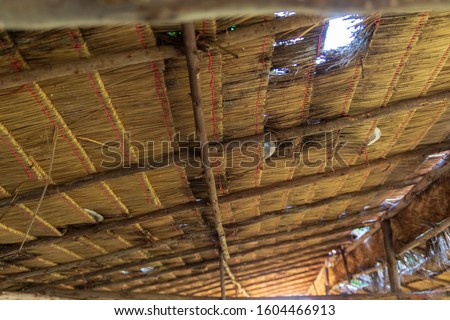 Structure of bamboo huts. Bamboo hut. Bamboo huts for living. The part of the roof is made of bamboo. #1604466913