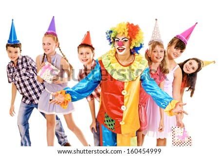 Birthday party group of teen people with clown. Isolated. #160454999