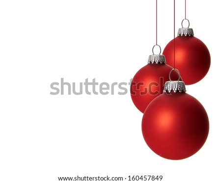 christmas, red christmas balls isolated hanging with white background  #160457849
