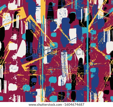 abstract background, with paint strokes , splashes Seamless vector pattern made by hand drawn paint strokes.  #1604674687