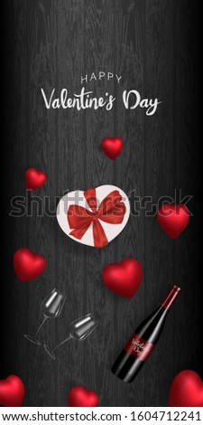 happy valentines day, 3d red hearts design, Celebration card hand writing ,wood background vector illustration #1604712241