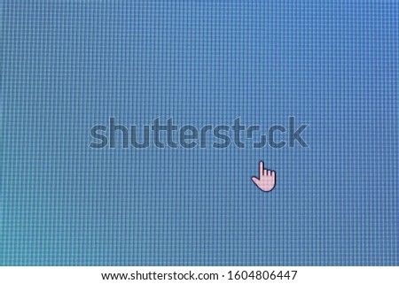 Pixel cursors icons: Hand or Aero Link cursor on blue screen #1604806447
