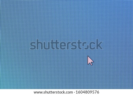Pixel cursors icons: white Arrow or normal arrow cursor on blue screen. #1604809576