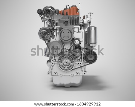 3D rendering of diesel engine for car front view on gray background with shadow #1604929912