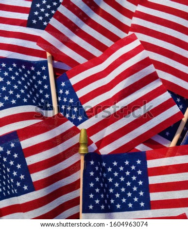 American stick flags in a pile in an array of patriotic colors #1604963074
