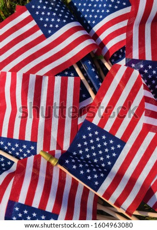 American stick flags in a pile in an array of patriotic colors #1604963080