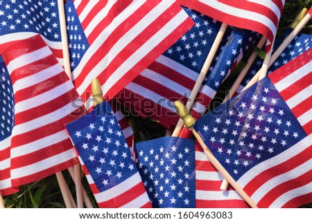 American stick flags in a pile in an array of patriotic colors #1604963083