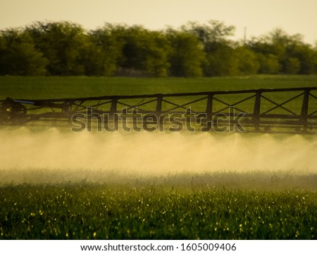 Jets of liquid fertilizer from the tractor sprayer. Tractor with the help of a sprayer sprays liquid fertilizers on young wheat in the field. The use of finely dispersed spray chemicals. #1605009406