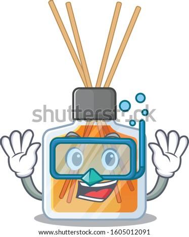 cartoon character of air freshener sticks wearing Diving glasses #1605012091
