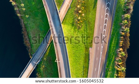 Aerial view on US Highways. USA Interstate System. Highway Ramp crossing I75 west bond. #1605045532