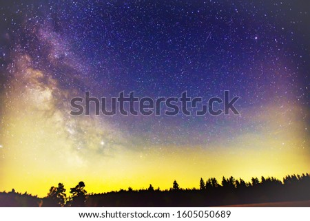 Milky Way and stars in the night sky.